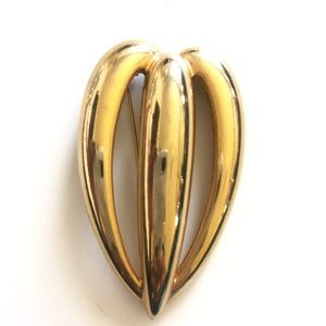 Vintage Gold Plated Heart Shaped Brooch